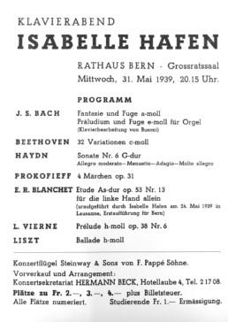 Carte Concert 1939 - Isabelle Hafen
